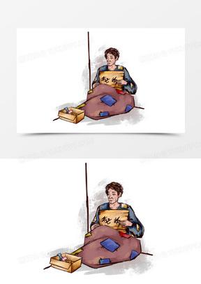 线描手绘乞丐人物元素