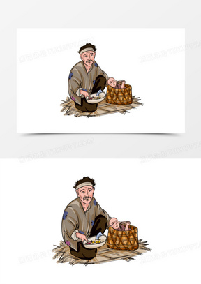 线描手绘乞丐行乞元素