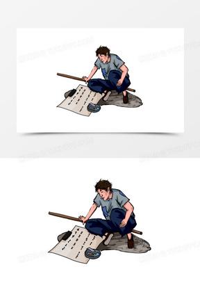 手绘线描乞丐乞讨元素