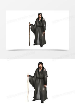 古代乞丐人物元素