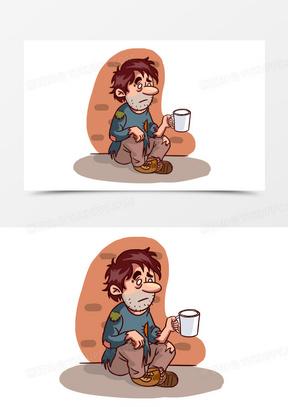 卡通乞丐男人配图元素