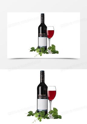 红酒装饰广告元素