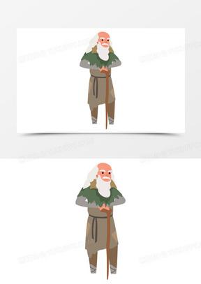 扁平卡通白发乞丐老人元素