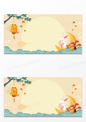 中秋节中国风卡通玉兔月饼灯笼背景