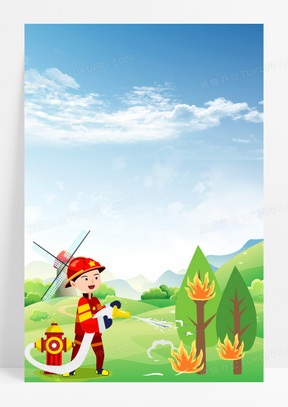 卡通手绘消防员灭火背景