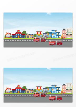 手绘扁平化城市消防宣传背景