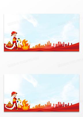 创意大气简约红色卡通消防安全宣传背景