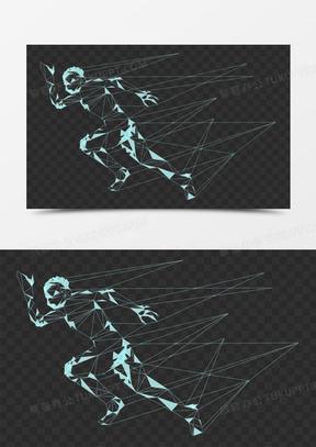 人物奔跑点线抽象剪影元素