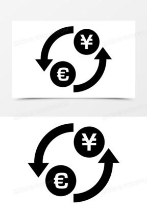 美元兑日元兑换货币符号与箭头圈图标