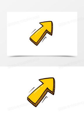 手绘黄色卡通箭头免抠元素