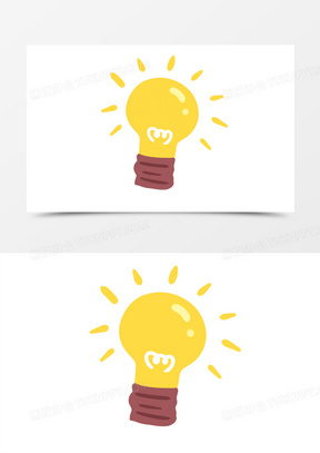 手绘卡通小灯泡免抠元素