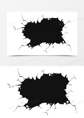 黑色大气墙壁破洞效果元素
