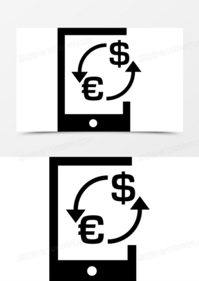 欧元兑美元汇率在货币符号一片图标