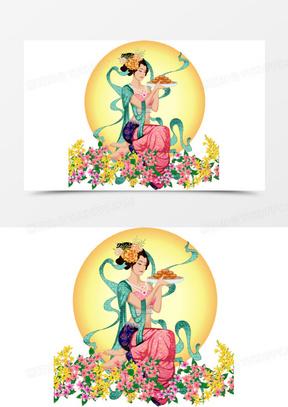 中秋节中秋节月亮上的鲜花美女