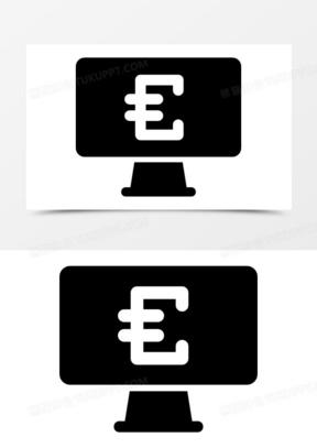 欧元货币符号在屏幕图标