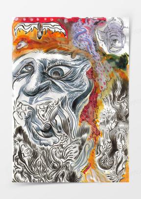 抽象变形人物油画