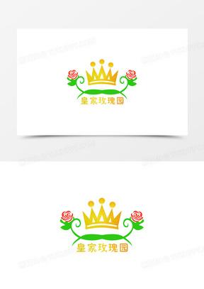 黄色卡通手绘皇冠皇家玫瑰园logo
