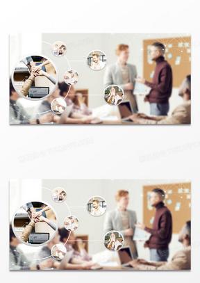 简约风商务会议团队合作讨论摄影图合成背景