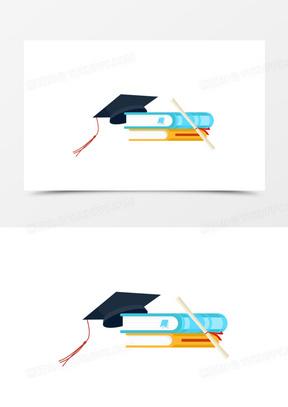手绘卡通学士帽和书本免抠素材