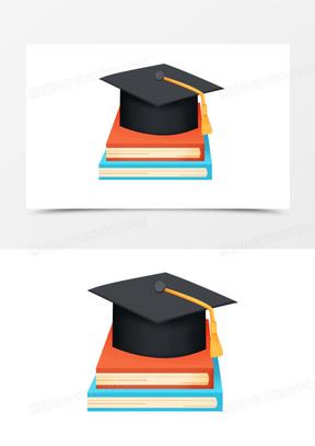 手绘卡通毕业季学士帽免抠素材