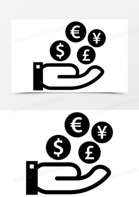 金融的象征四种货币在手图标