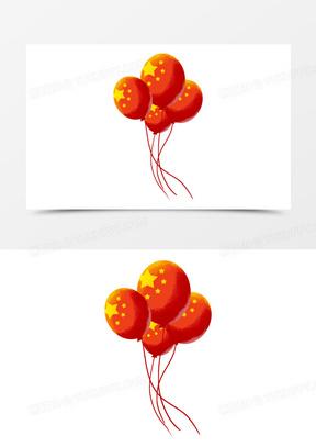 手绘卡通红旗气球免抠元素