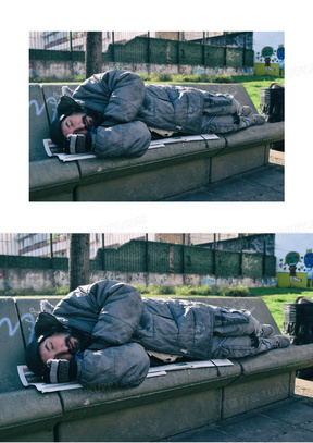 睡觉的乞丐图片