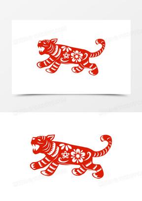 手绘虎年新年春节剪纸窗花元素