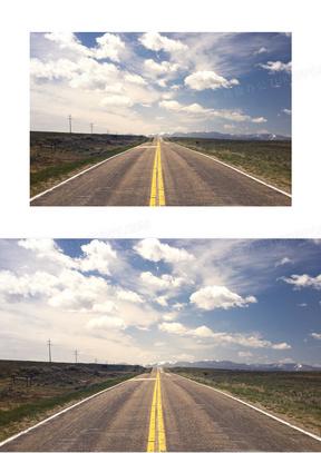 好看的公路蓝天白云图片