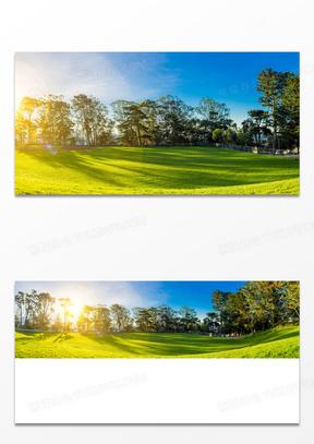 明亮的高尔夫球场环境