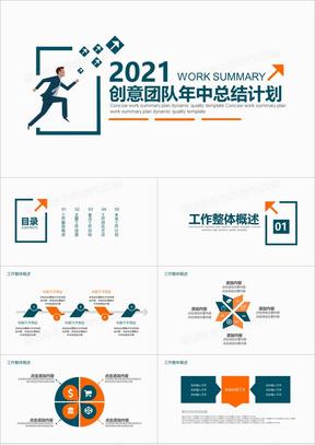 2021年创意团队年中总结计划PPT模板