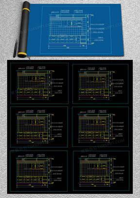 室内装修厨房立面图CAD设计图纸