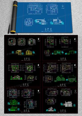 14套别墅建筑设计方案图cad图纸