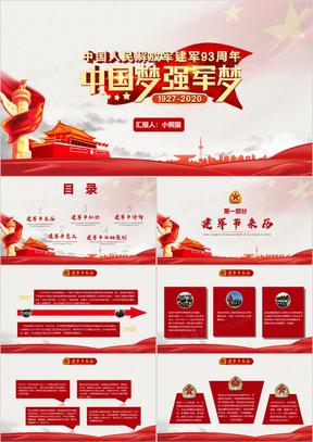 八一建军节庆祝建军93周年党建宣传PPT模板