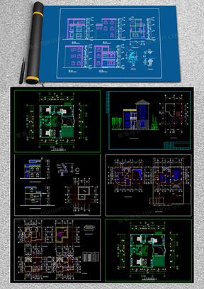 12个别墅设计方案设计图cad图纸