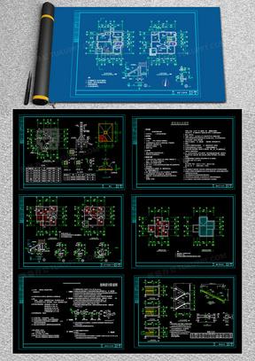 简单实用的新型农村住宅施工图CAD图纸