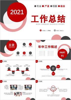 2021红色商务风工作总结计划报告通用PPT模板