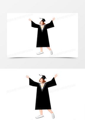 黑色卡通学士帽毕业季