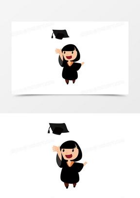 黑色卡通毕业季扔学士帽