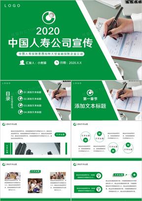 简约中国人寿公司宣传通用PPT模板