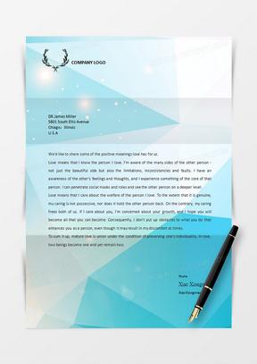 蓝色晶格化商务信纸word文档信纸