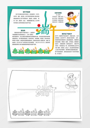 传统节日端午节习俗文化花边边框手抄报小报