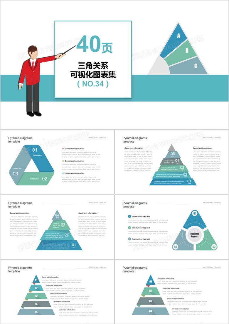 40页三角关系可视化图表集PPT模板