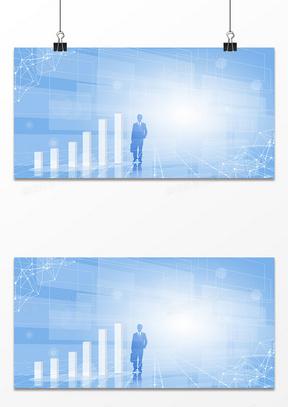 简约大气商务大数据商务剪影背景
