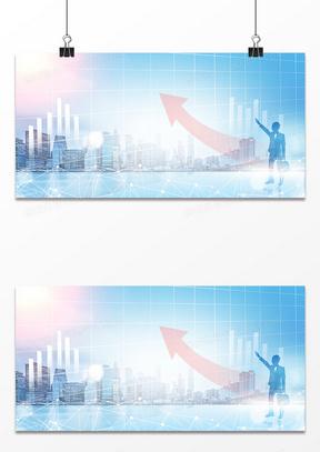 商务企业大数据商务人士剪影城市背景