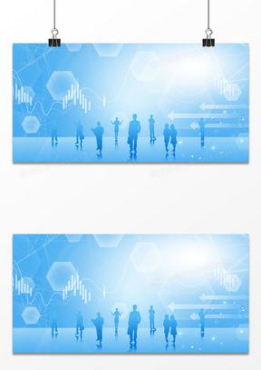 商务大数据几何商务剪影背景