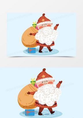背着破洞大包裹送礼物的圣诞老人