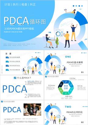 PDCA循环图计划执行检查纠正演示PPT模板