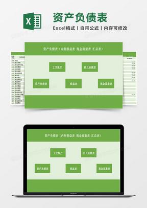 资产负债表(内附损益表现金流量表汇总表)Excel模板