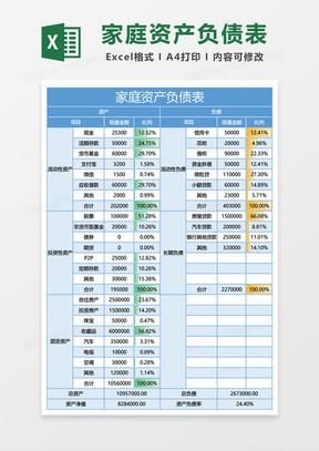 蓝色家庭资产负债表excel模板